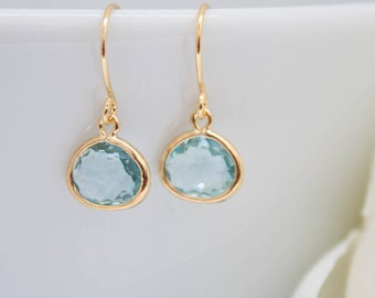 Small earrings yellow gold aquamarine