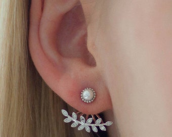 Ear jackets silver leaves cubic zirconia beads