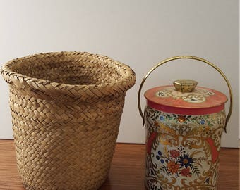 Decorative English Tin and Woven Basket