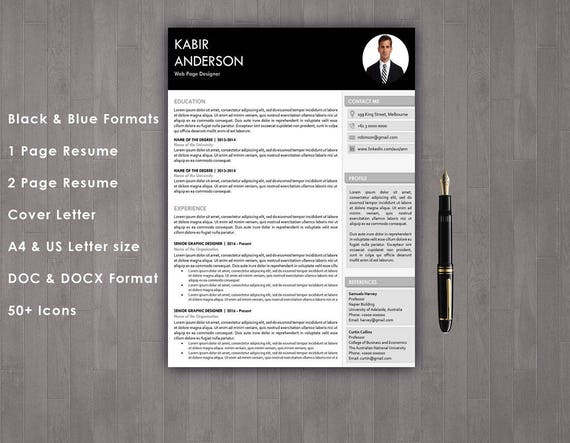 Resume Template Professional Resume 1 Page Resume 2 Page