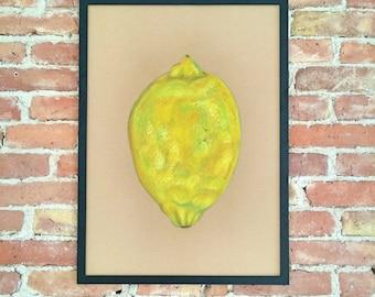 Lemon Original Art Wall art Kitchen decor Fruit Painting home decor Poster minimalism