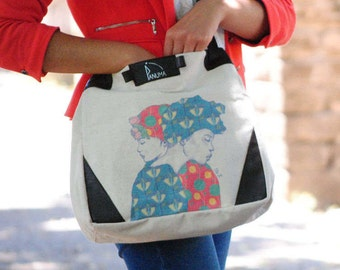 2 in 1 bag, backpack convertible handbag, illustrated by a French artist, leather and fabric