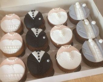 12 Cupcake Bride and Groom Wedding Sugarpaste Toppers - Fondant Decorations - Cupcake Toppers - Wedding - Bride & Groom - Wedding Dress