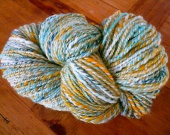 Handspun yarn, Hand Spun yarn, 2 Ply Yarn, Worsted yarn, Knitting Yarn, Hand dyed silk Mulberry, Felting, Weaving yarn , Crochet