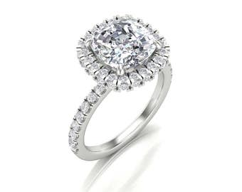 2.5ct Cushion Moissanite Diamond Halo Engagement Ring - Forever One Moissanite Infinity Halo Ring - Charles & Colvard 8mm Moissanite Diamond