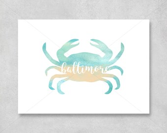 Baltimore Crab Watercolor Decor Print