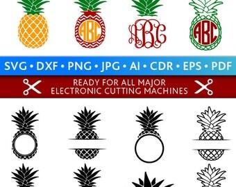 Pineapple Svg Pineapple Monogram Frames Svg Pineapple Frames Svg Cut Files Silhouette Studio Cricut Svg Dxf Jpg Png Eps Pdf Ai Cdr