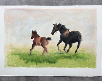 Mare and Foal Original Watercolor Painting