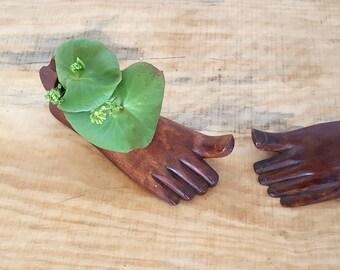 vintage pair of wood foot ashtrays   carved wooden ashtray   wood trinket bowl   oddity novelty gift