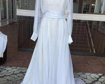 Long Sleeved Vintage Wedding Dress with Sheer (1983)