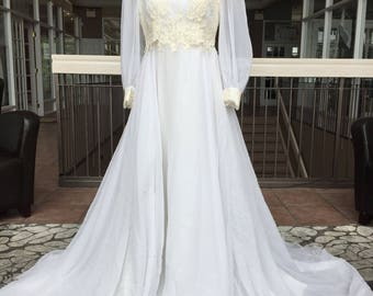 Long Sleeved Vintage Bridal gown with Embellished Corset