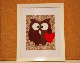 Loving Owl/ Nursery Art/ Art For Childrens Room/ Kids Room Decor/ Felt art