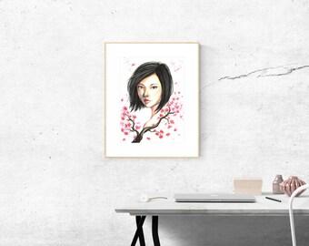 Cherry Blossom Watercolor Fine Art Print