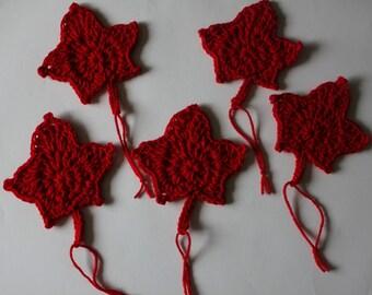 Set of 6 handmade maple leaf decorations, Canada Day decorations, crochet decorations
