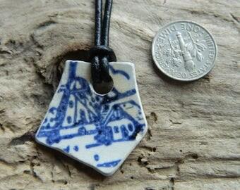 Vintage Pottery Shard Pendant Necklace