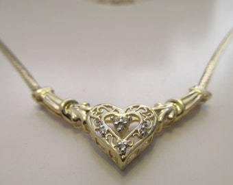 10k Gold And Diamond Heart Necklace. ADL Marked.