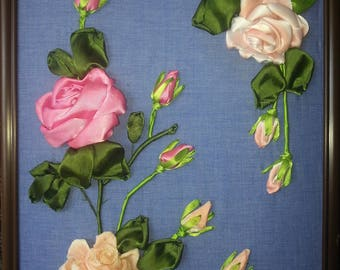 """Embroidery, Ribbon, """"Roses in Bloom"""""""