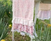 Ruffled Runner - Farmhouse Cottage Shabby - Vintage Embroidered Linen - Picket Fence and Flowers - Pink and Cream