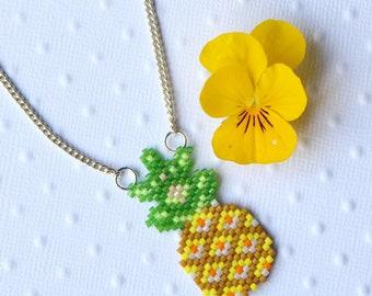 Pineapple in Miyuki beads necklace