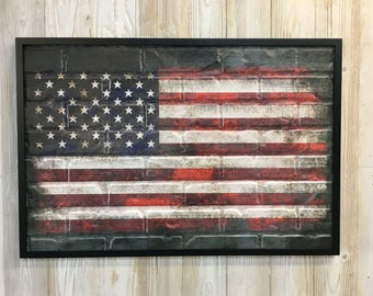 37 inch American Flag With Black Border Wall Art