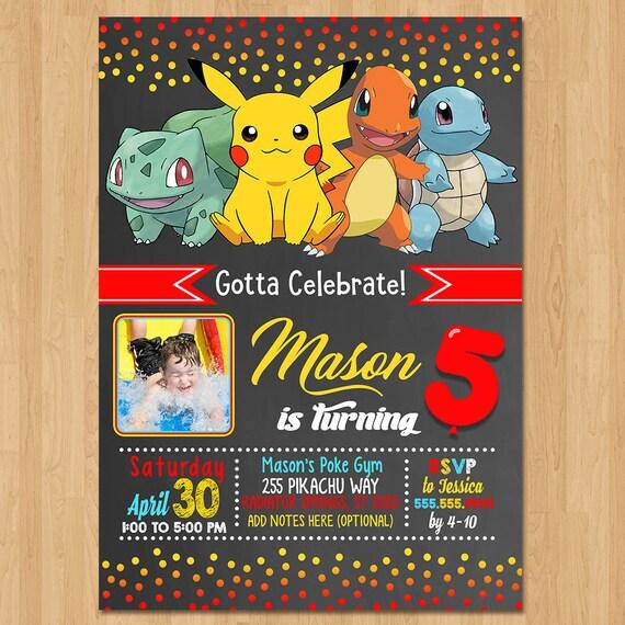 Pokemon Invite - Chalkboard Red, Yellow & Blue - Pokemon Birthday Party Invite - Pokemon Party Favors - Photo Invite - Pikachu Birthday