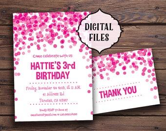 Confetti Birthday Invitation, pink birthday invitation, Children Birthday Party invitation, fuchsia invite, Children party invitation