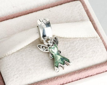 Disney Tinker Bell's Dress Charm , 925 Sterling Silver with Glittering Green Enamel Fits to all Pandora Charm Bracelets