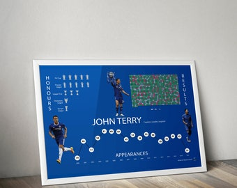 John Terry Chelsea Statistical Infographic Wall Print