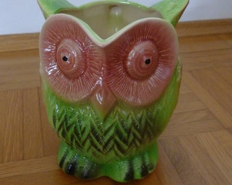 French majolica owl pitcher