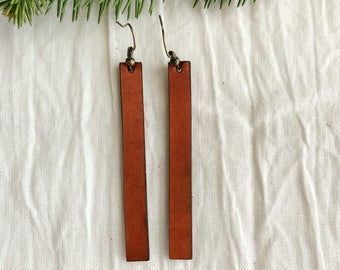 Leather Strip Earrings - Large - Minimalist Leather Jewelry - Leather Earrings - British Tan