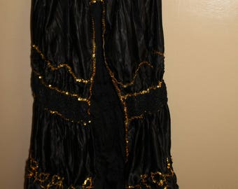 Black and Gold Sequined Belly Dance Overskirt