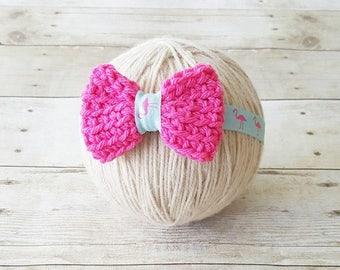Baby Flamingo Headband Crochet Bow Pink Aqua Mint Black Rhinestone Infant Newborn Baby Toddler Child Photography Photo Prop Baby Shower Gift