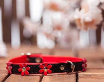 "soft feel - collar leather ""Flowers"" in 9 colors neck size 21-26 cm for very small - small dogs black and Red article 582"