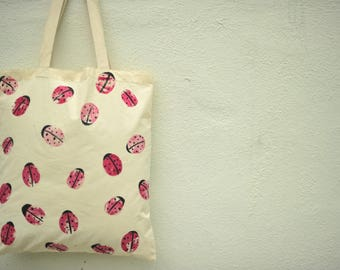 Unique Gift- Hand-painted Red Lady bug Handbag