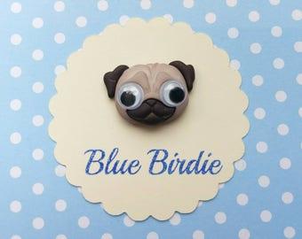 Pug brooch goggle eyed pug brooch pug jewelry pug jewellery dog gifts dog brooch dog jewelry cute dog jewellery kawaii doggo