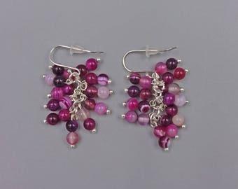"1.5"" Fuchsia Agate Cluster Earrings"