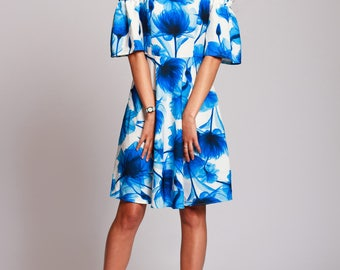 Short floral dress, blue summer dress