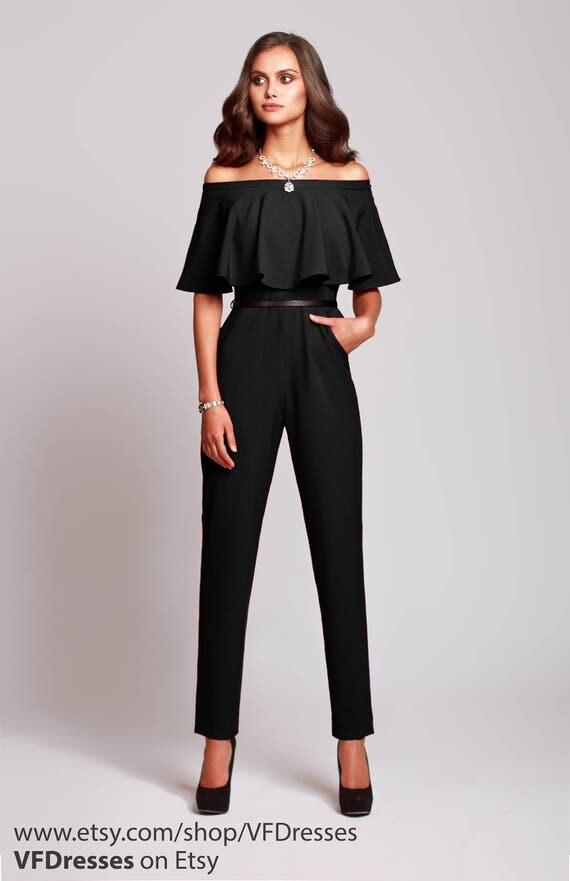 schwarzen overall damen overall jumpsuit von hochzeit. Black Bedroom Furniture Sets. Home Design Ideas