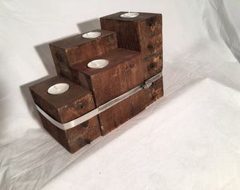 Tea Light, Natural Wood, Reclaimed Materials, Gift,
