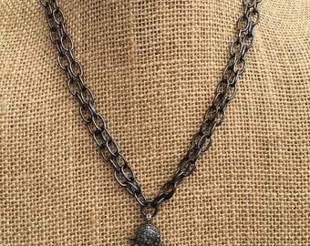 Pavé Diamond Lobster Claw Necklace