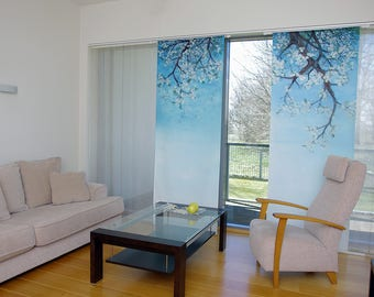 Cherry blossoms.Sakura.Wall textile.Textile hanging.Nordic design.Home decoration.Window panel.