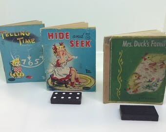 Three Little Tiny Tales Vintage Children's Books, Telling Time 1949, Hide And Seek 1950, Mrs. Duck's Family 1948