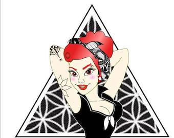 Punk Rock Pinup Sticker in Red