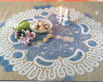 Round crochet doily Brugge lace 27.6 inches