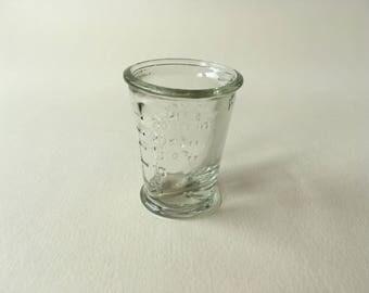 little vintage german glass measure, 1 spoon, half spoon, tea spoon, 5-25 gr, apothecary, kitchen