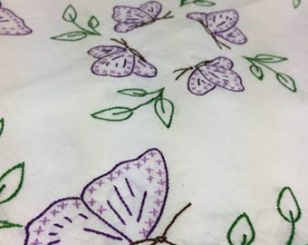 Hand embroidered butterfly table cloth
