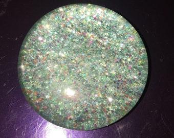 Compact Glitter Glass Pebble