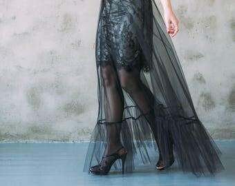 Black Tulle Dress, Sleeveless Dress, Sheer Mesh Dress, Tulle Overlay, Plus Size, Maxi Dress, Boho Dress, Black Dress, Tulle Skirt