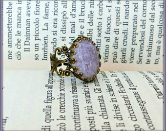 Vintage ring, Victorian style ring, Adjustable filigree ring, Blue ceramic ring, Vintage ring, Violet ceramic ring, Gift for her