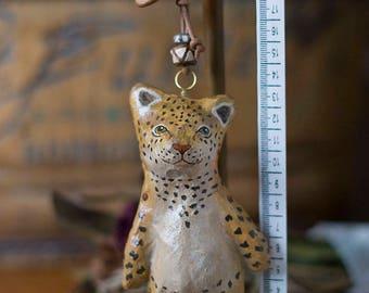 paper mache, leopard, keychain, leather, animal, keyring